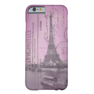 Vintage Eiffel Tower Postcard in Pink iPhone 6 cas Barely There iPhone 6 Case