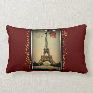 Vintage Eiffel Tower postcard Paris France-Pillow Lumbar Pillow