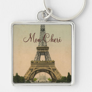 Vintage Eiffel Tower postcard Paris France Silver-Colored Square Keychain