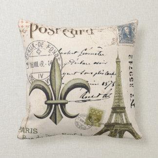 Vintage Eiffel Tower postcard pillow