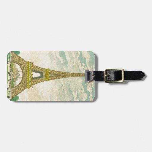 Vintage Eiffel Tower Postcard Tag For Luggage
