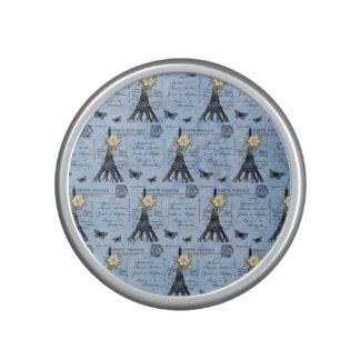 Vintage Eiffel Tower Postcards on Blue Bluetooth Speaker