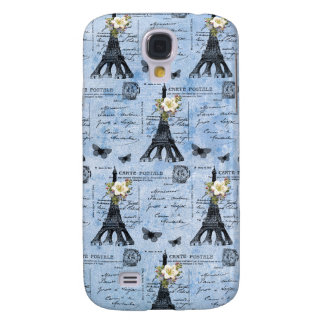 Vintage Eiffel Tower Postcards on Blue Samsung Galaxy S4 Covers