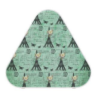 Vintage Eiffel Tower Postcards on Green Bluetooth Speaker