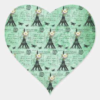 Vintage Eiffel Tower Postcards on Green Heart Sticker