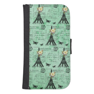 Vintage Eiffel Tower Postcards on Green Phone Wallets