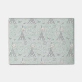 Vintage Eiffel Tower Postcards on Green Post-it® Notes