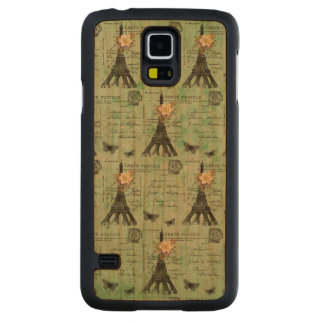 Vintage Eiffel Tower Postcards on Green Carved® Cherry Galaxy S5 Slim Case