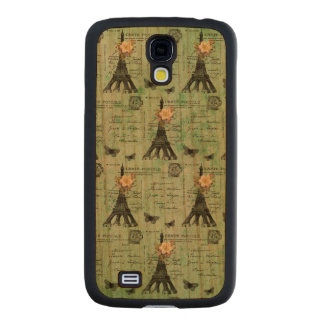 Vintage Eiffel Tower Postcards on Green Carved® Cherry Galaxy S4 Case