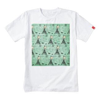 Vintage Eiffel Tower Postcards on Green Zazzle HEART T-Shirt