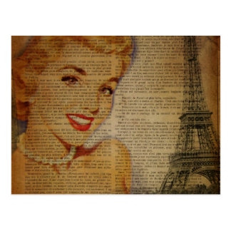 vintage Eiffel Tower retro paris fashionista Postcard