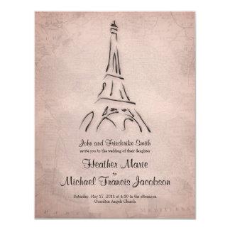 Vintage Eiffel Tower Sepia Wedding Invitation