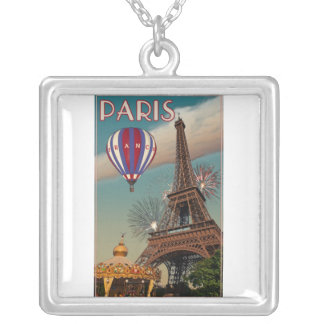 Vintage Eiffel Tower Silver Plated Necklace