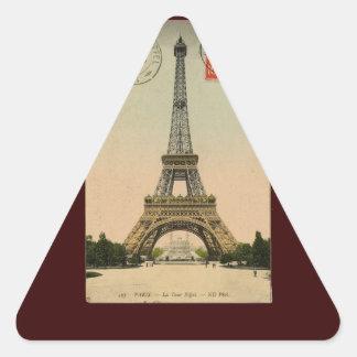 Vintage Eiffel Tower Triangle Sticker