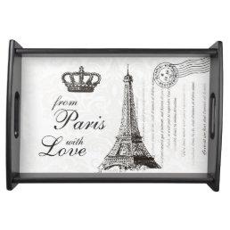 Vintage Eiffel Tower Typography Paris Love Serving Tray