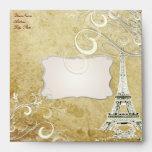 Vintage Eiffel Tower + Vanilla Swirls Envelope