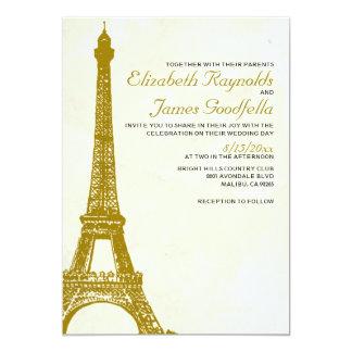 "Vintage Eiffel Tower Wedding Invitations 5"" X 7"" Invitation Card"