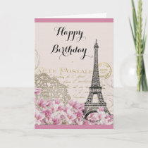 Vintage Eiffel Tower with Pink flowers Birthday Card