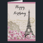 """Vintage Eiffel Tower with Pink flowers Birthday Card<br><div class=""""desc"""">A whimsical vintage collage which has an old french postcard background with an eiffel tower sketch and some pink and white wildflowers bordering the bottom. Fancy swirly embellishments decorate the sides. Happy Birthday written in a fancy handwritten font. Customize the message inside or leave as is. The message says: Wishing...</div>"""
