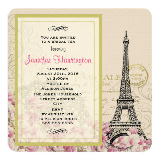 Vintage Eiffel Tower with Pink Flowers Bridal Tea Card
