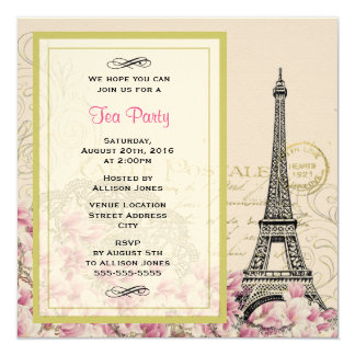 Vintage Eiffel Tower with Pink Flowers Tea Party Card