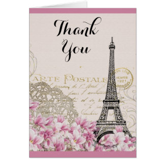 Vintage Eiffel Tower with Pink flowers Thank You Card