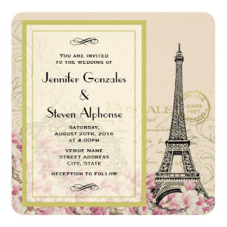 Vintage Eiffel Tower with Pink Wildflowers Wedding Card