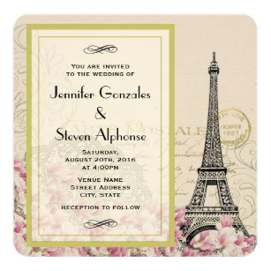 Vintage Eiffel Tower With Pink Wildflowers Wedding Invitation