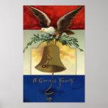 Vintage el 4 de julio con Eagle y Liberty Bell Impresiones