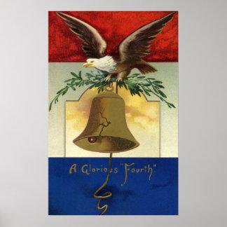Vintage el 4 de julio con Eagle y Liberty Bell Póster