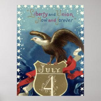 Vintage el 4 de julio, Eagle con las estrellas Impresiones