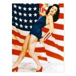 Vintage el 4 de julio modelo tarjeta postal