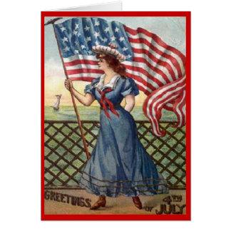 Vintage el 4 de julio tarjeta de felicitación