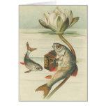 Vintage - el acordeón que juega pescados tarjeta