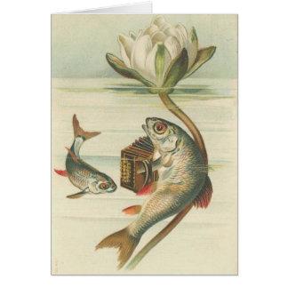 Vintage - el acordeón que juega pescados tarjeta de felicitación