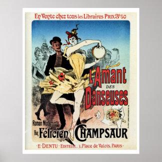 Vintage el amante del anuncio del libro de las bai póster