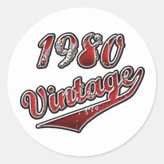 Vintage el an o 80 pegatina redonda