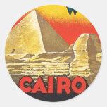 Vintage El Cairo Egipto Etiquetas Redondas