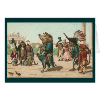 Vintage - el cerdo majestuoso tarjeta de felicitación