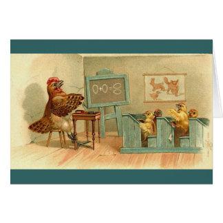 Vintage - el cuarto de clase de los pollos tarjeta de felicitación