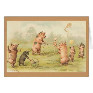 Vintage - el jugar de los cerdos felicitaciones