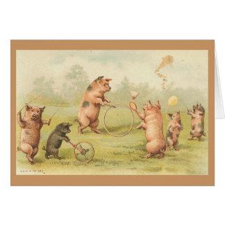 Vintage - el jugar de los cerdos tarjeta de felicitación