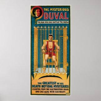 Vintage el poster misterioso de la magia de Duval