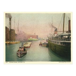 Vintage el río Chicago Postales