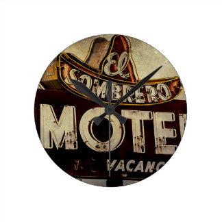Vintage El Sombrero Motel Sign Wall Clock