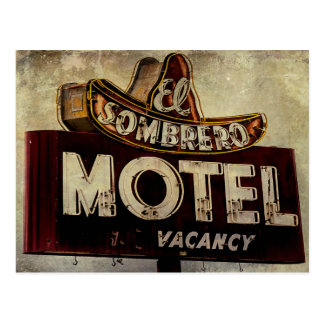 Vintage El Sombrero Motel Sign Postcard