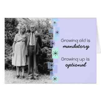 Vintage Elderly Couple Growing Old Birthday Card