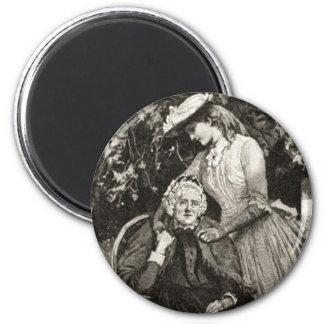 Vintage Elderly Mother and Daughter 2 Inch Round Magnet
