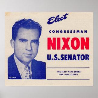 Vintage Elect Congressman Nixon Senator Poster