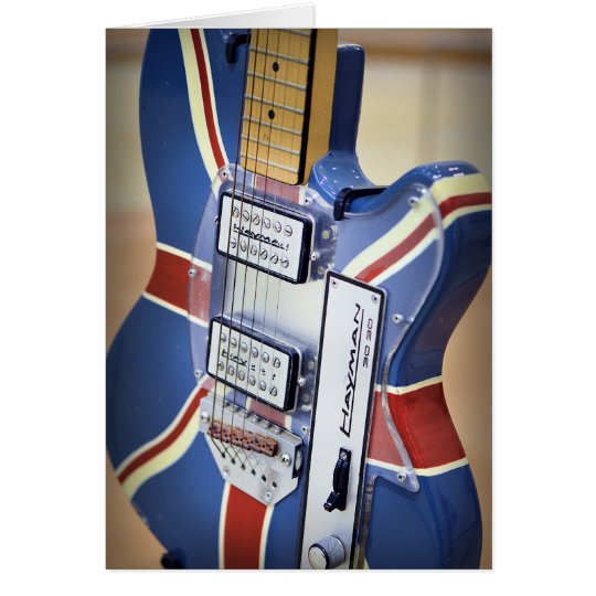 Vintage electric guitar greeting card